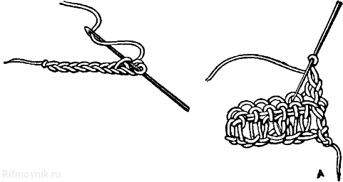 Вязание второго ряда крючком 331